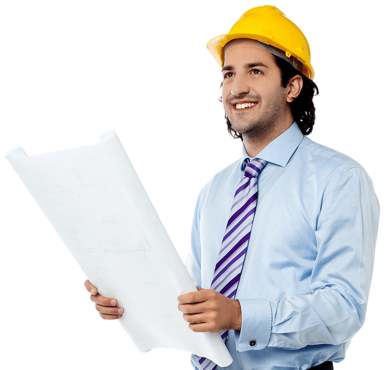 Man in hard hat holding paper